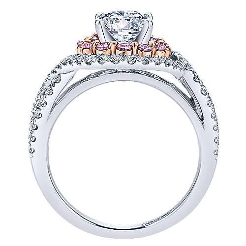 14k White/rose Gold Round Double Halo Engagement Ring angle 2