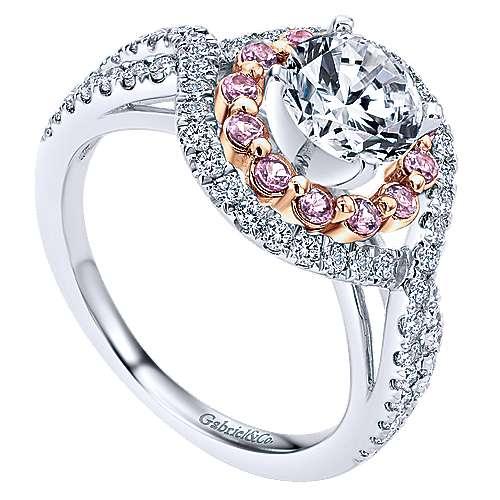 14k White/rose Gold Round Double Halo Engagement Ring angle 3