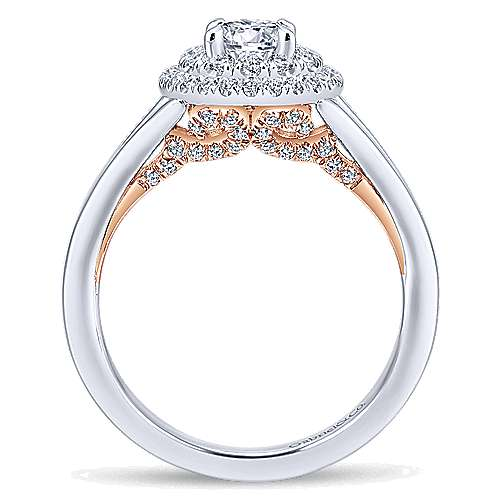 14k White/rose Gold Round Double Halo Engagement Ring angle 2