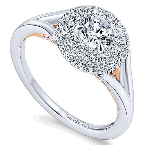 14k White/rose Gold Round Double Halo Engagement Ring angle 3
