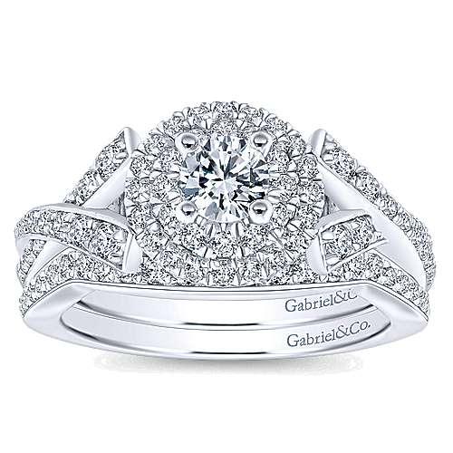 14k White/rose Gold Round Double Halo Engagement Ring angle 4