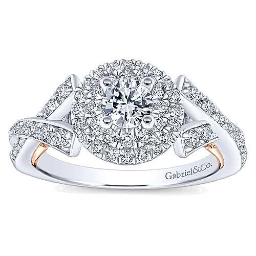 14k White/rose Gold Round Double Halo Engagement Ring angle 5