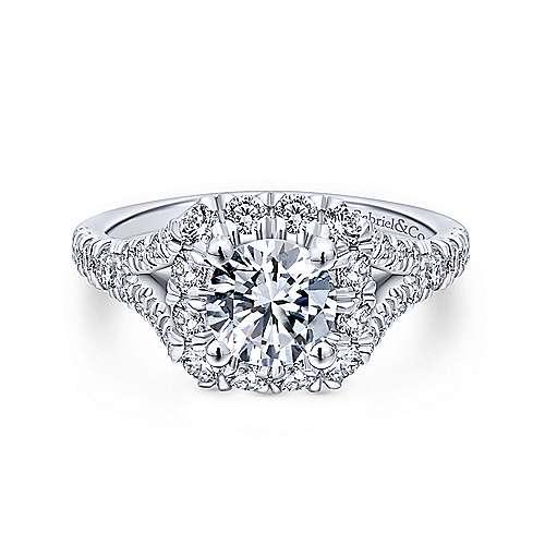 Gabriel - 14k White/rose Gold Round Halo Engagement Ring