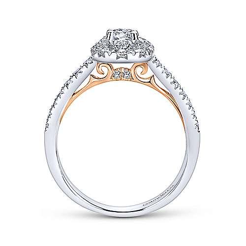 14k White/rose Gold Round Halo Engagement Ring angle 2