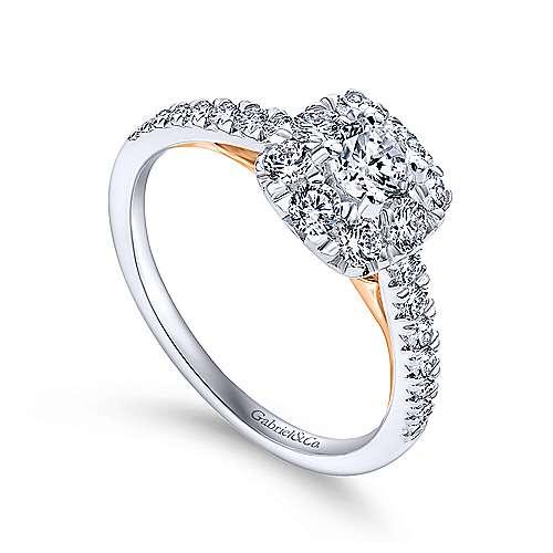 14k White/rose Gold Round Halo Engagement Ring angle 3
