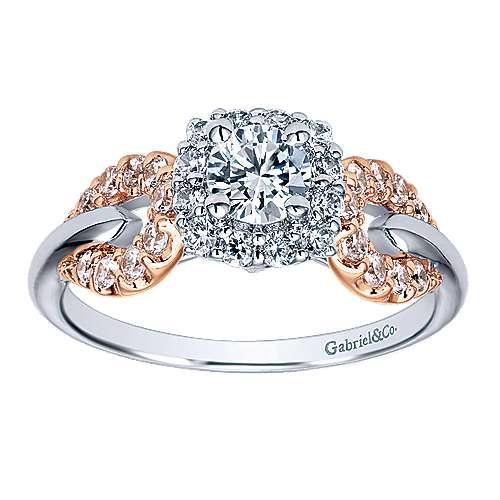 14k White/rose Gold Round Halo Engagement Ring angle 5