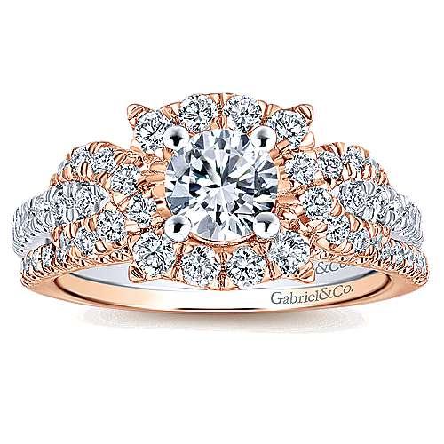 14k White/rose Gold Round Halo Engagement Ring angle 4