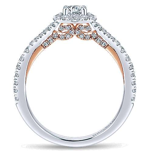 14k White/rose Gold Round Halo Engagement Ring angle 2