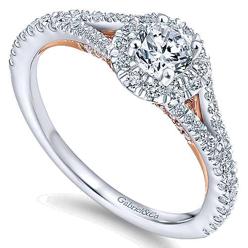 14k White/rose Gold Round Halo Engagement Ring angle 3
