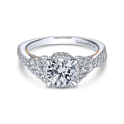 Gabriel - 14k White/rose Gold Round Split Shank Engagement Ring