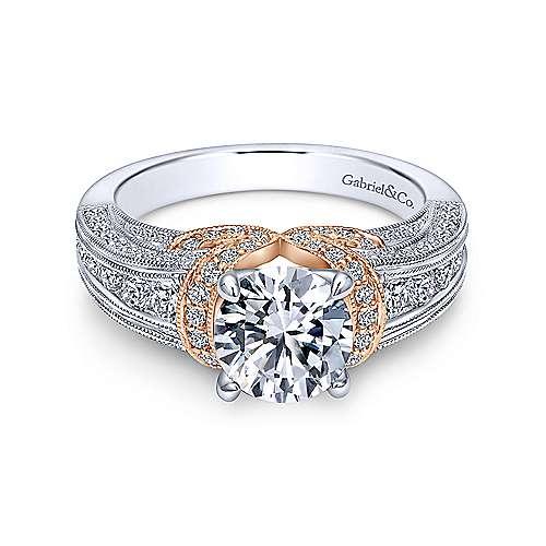 Gabriel - 14k White/rose Gold Round Straight Engagement Ring