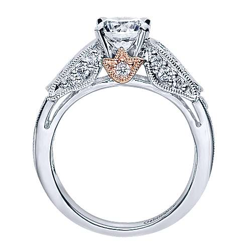 14k White/rose Gold Round Straight Engagement Ring angle 2
