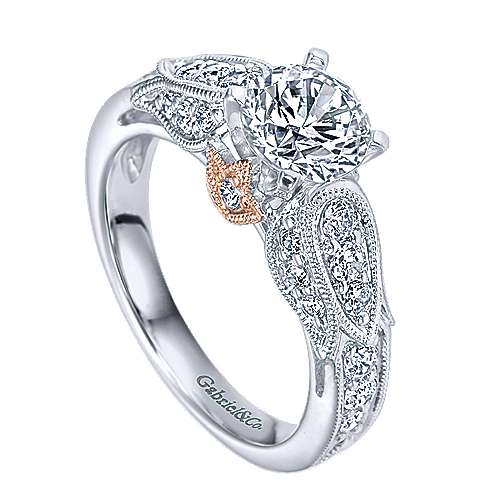 14k White/rose Gold Round Straight Engagement Ring angle 3