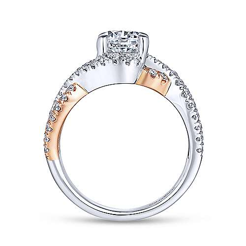14k White/rose Gold Round Twisted Engagement Ring angle 2
