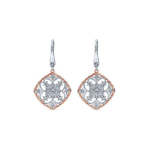 Gabriel - 14k White/rose Gold Victorian Drop Earrings