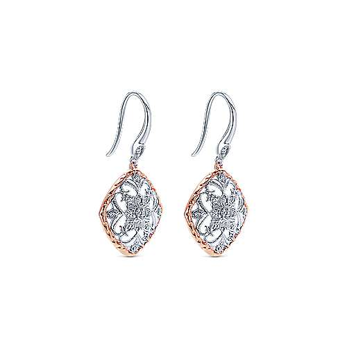 14k White/rose Gold Victorian Drop Earrings angle 2