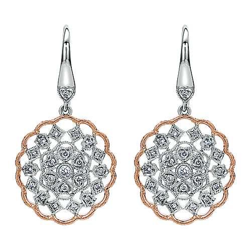 Gabriel - 14k White/rose Gold Victorian Drop Earrings