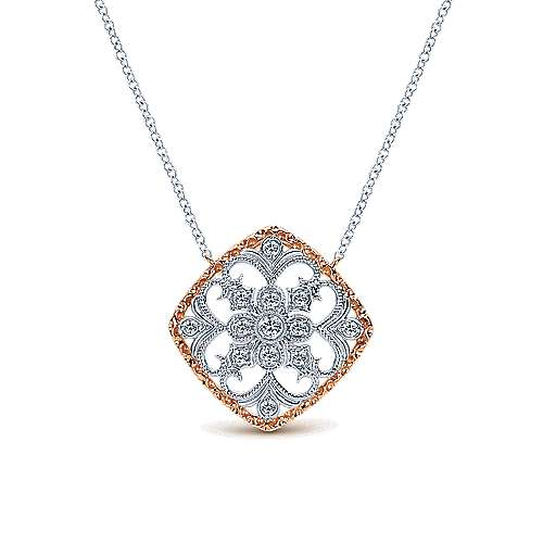 Gabriel - 14k White/rose Gold Victorian Fashion Necklace