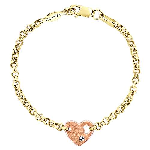 Gabriel - 14k Yellow And Rose Gold Secret Garden Heart Bracelet