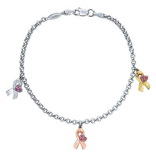 14k Yellow And White And Rose Gold Care Collection Charm Bracelet angle 1