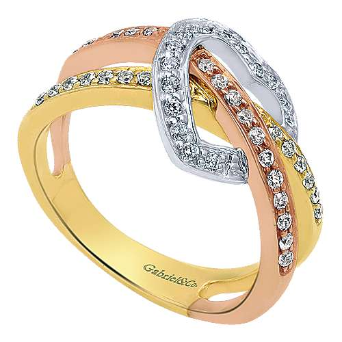 14k Yellow And White And Rose Gold Eternal Love Fashion Ladies' Ring angle 3