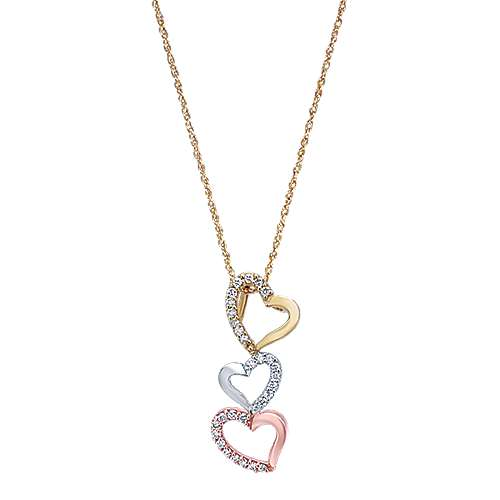 Gabriel - 14k Yellow And White And Rose Gold Eternal Love Heart Necklace