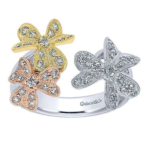 14k Yellow And White And Rose Gold Floral Fashion Ladies' Ring angle 4