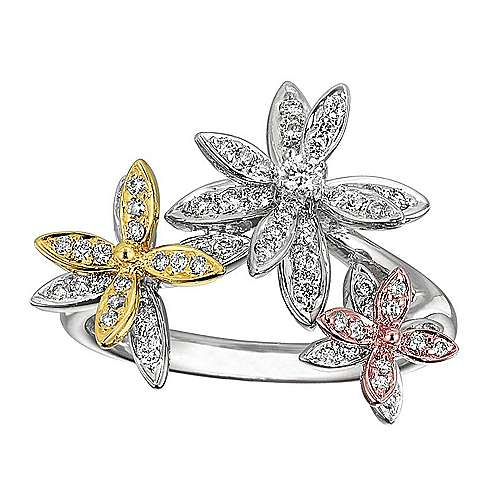 Gabriel - 14k Yellow And White And Rose Gold Floral Fashion Ladies' Ring