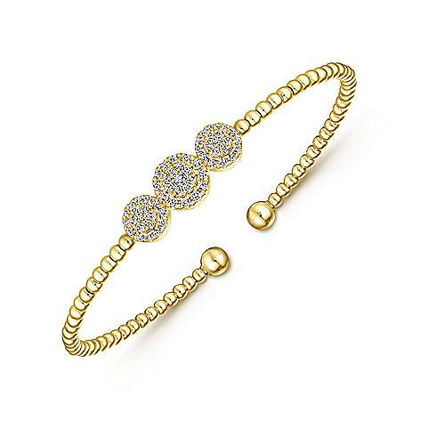 14k Yellow And White Gold Bujukan Bangle angle 2