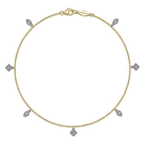 14k Yellow And White Gold Contemporary Chain Ankle Bracelet