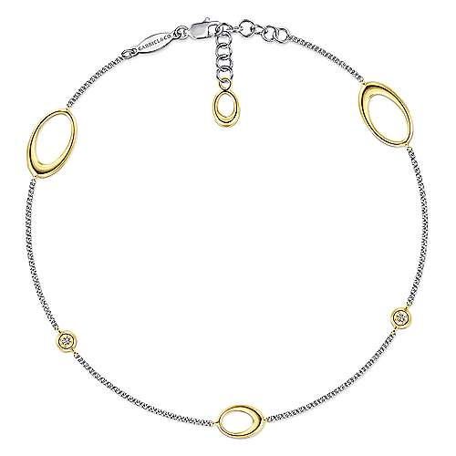Gabriel - 14k Yellow And White Gold Contemporary Chain Ankle Bracelet
