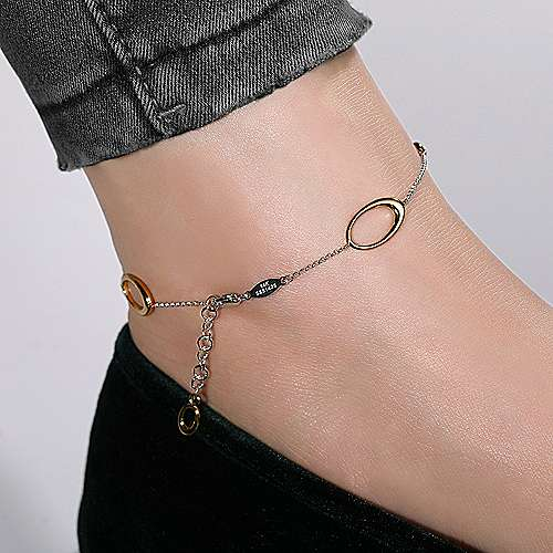 14k Yellow And White Gold Contemporary Chain Ankle Bracelet angle 3