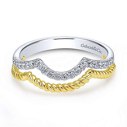 Gabriel - 14k Yellow And White Gold Contemporary Curved Wedding Band