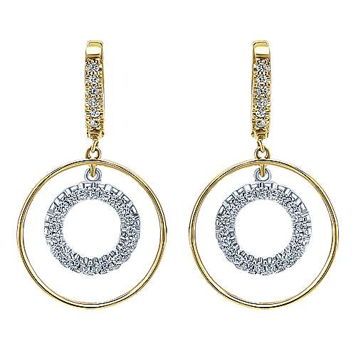 Gabriel - 14k Yellow And White Gold Contemporary Drop Earrings