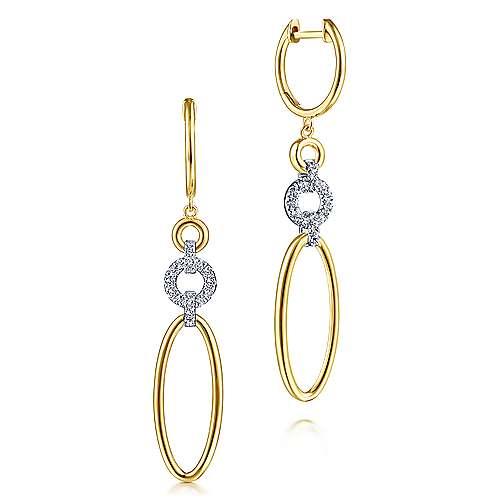 14k Yellow And White Gold Contemporary Drop Earrings