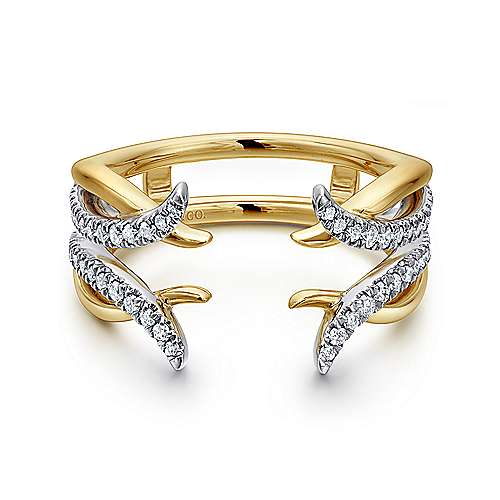 14k Yellow And White Gold Contemporary Enhancer Anniversary Band