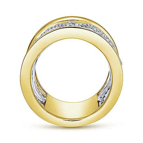 14k Yellow And White Gold Contemporary Fancy Anniversary Band angle 2