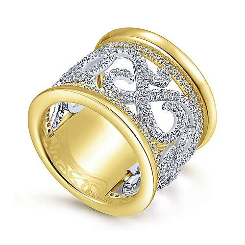 14k Yellow And White Gold Contemporary Fancy Anniversary Band angle 3