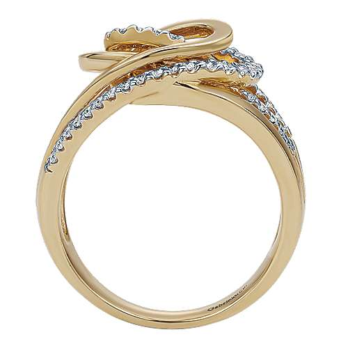 14k Yellow And White Gold Contemporary Fashion Ladies' Ring angle 2