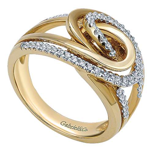 14k Yellow And White Gold Contemporary Fashion Ladies' Ring angle 3