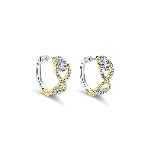 14k Yellow And White Gold Contemporary Huggie Earrings angle 1