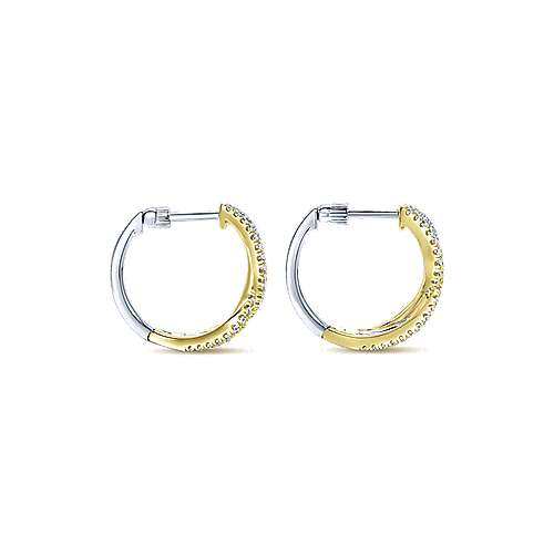 14k Yellow And White Gold Contemporary Huggie Earrings angle 2
