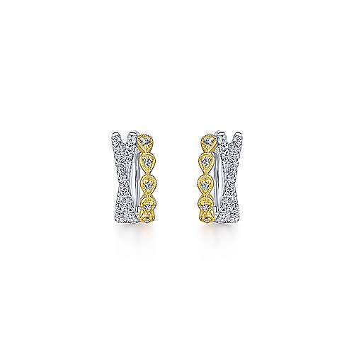 14k Yellow And White Gold Contemporary Huggie Earrings angle 3