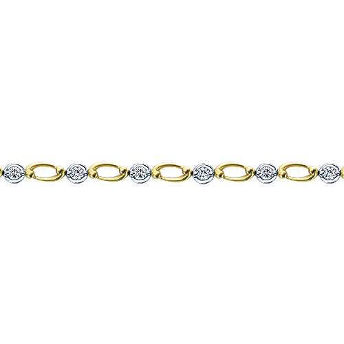 14k Yellow And White Gold Contemporary Tennis Bracelet angle 2
