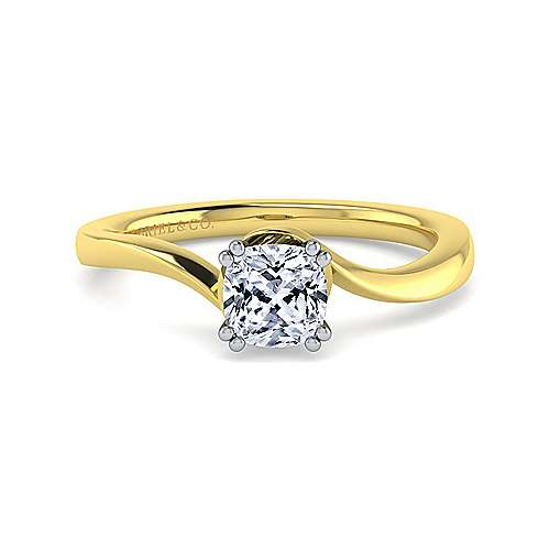 14k Yellow And White Gold Cushion Cut Solitaire Engagement Ring Angle 1