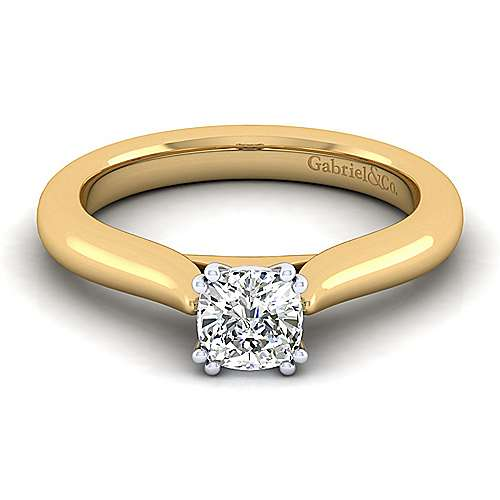 Gabriel - 14k Yellow And White Gold Cushion Cut Solitaire Engagement Ring