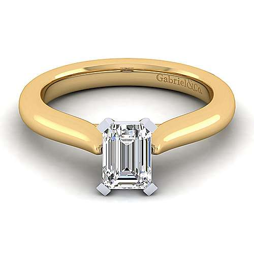 Gabriel - 14k Yellow And White Gold Emerald Cut Solitaire Engagement Ring