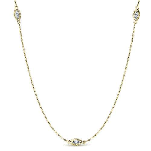 14k Yellow And White Gold Endless Diamonds Station Necklace angle 1