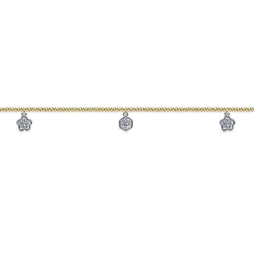 14k Yellow And White Gold Eternal Love Chain Ankle Bracelet