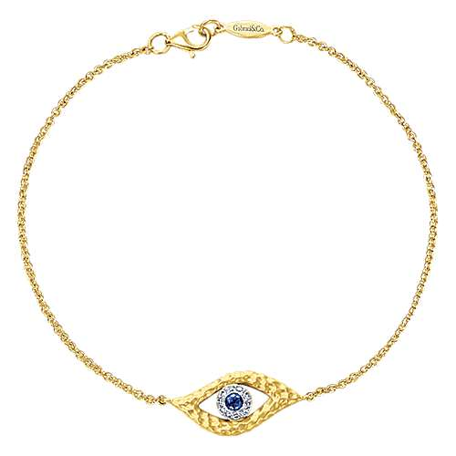 14k Yellow And White Gold Evil Eye Chain Bracelet angle 1